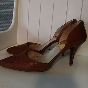 Michael Kors leather pumps w/ wooden heel